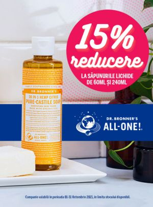 Promotie Dr. Bronner 15% Reducere Octombrie