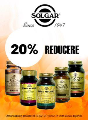 Promotie Solgar 20% Reducere Octombrie