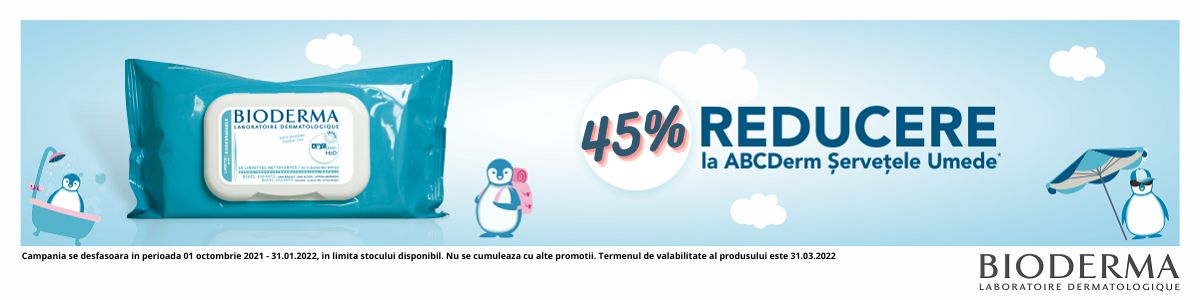 Promotie ABCDerm Servetele 45% Reducere