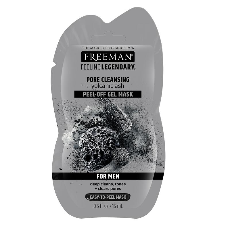 Mască pell-off pentru curățarea porilor cu cenușa vulcanică For Men, 15 ml, Freeman