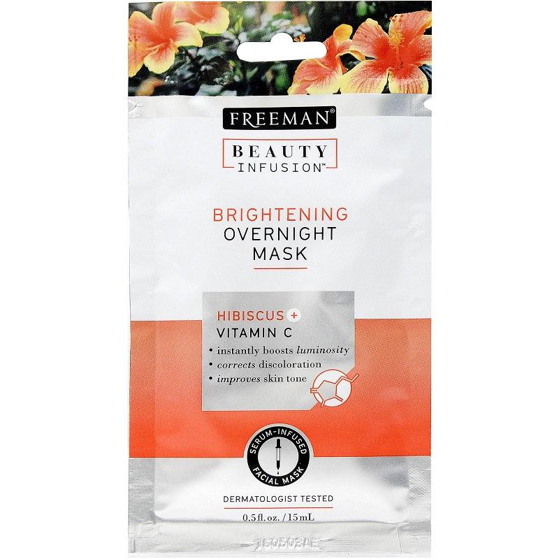 Mască de noapte pentru luminozitate cu hibiscus și vitamina C, 15 ml, Freeman