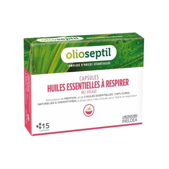 Uleiuri esențiale pentru inhalații Olioseptil A Respirer, 15 capsule, Laboratoires Ineldea