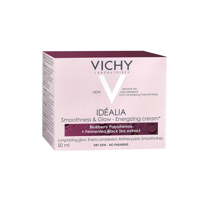 Cremă energizantă cu efect de netezire și iluminare pentru tenul uscat Idealia, 50 ml, Vichy