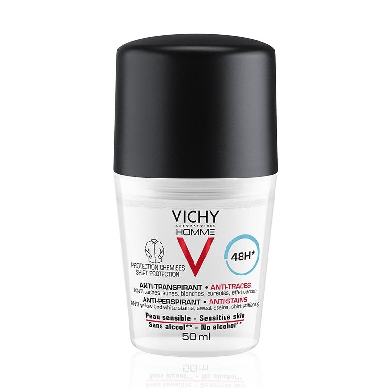 Deodorant roll-on antiperspirant anti-urme pentru bărbați 48h, 50 ml, Vichy Homme