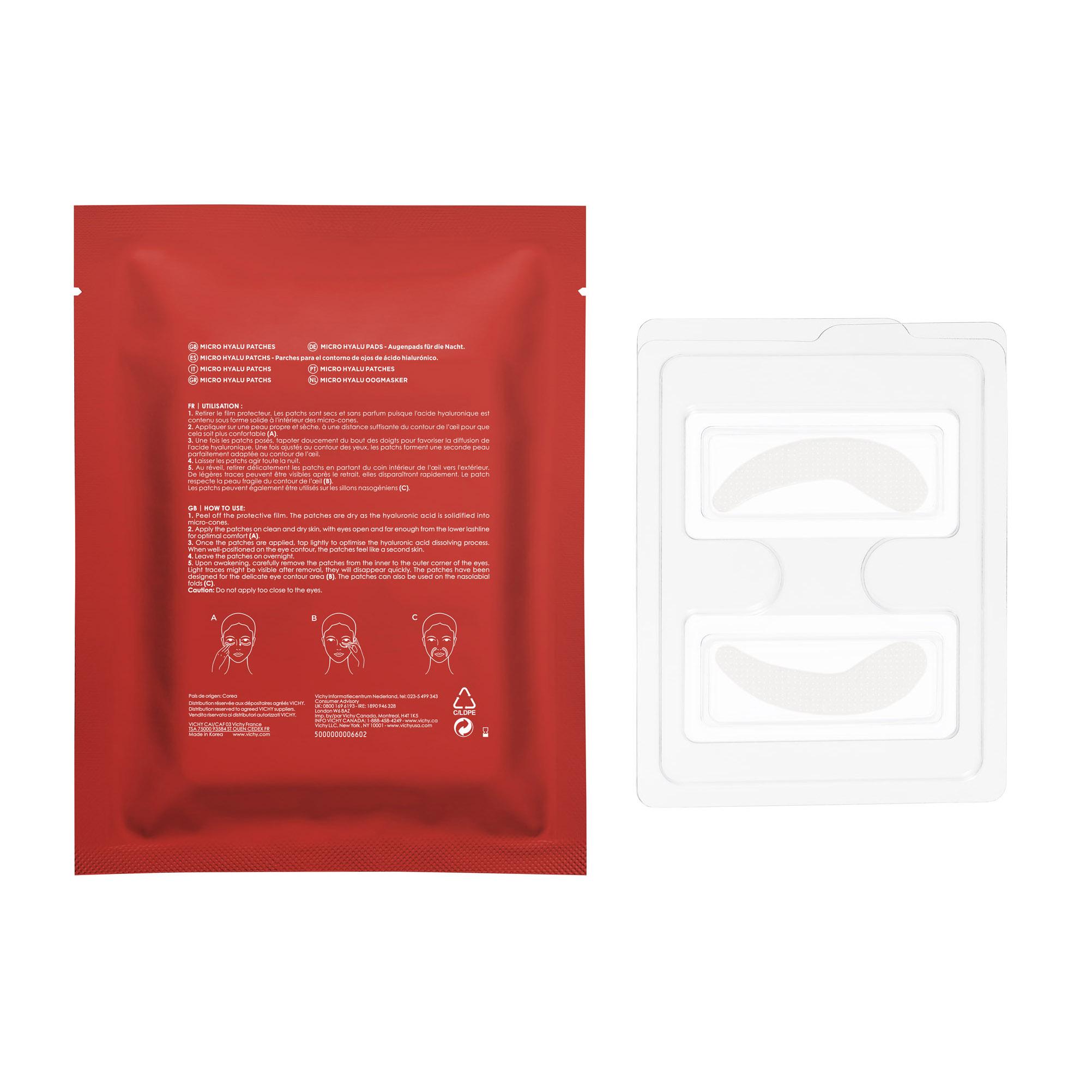 Plasturi antirid pentru zona ochilor cu acid hialuronic Liftactiv Micro Hyalu Patches, 2 bucați, Vichy