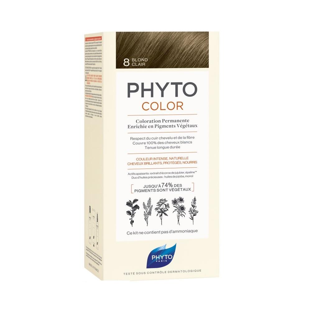 Vopsea permanenta pentru par Phytocolor, Light Golden Blonde (blond deschis) 8, 50 ml, Phyto