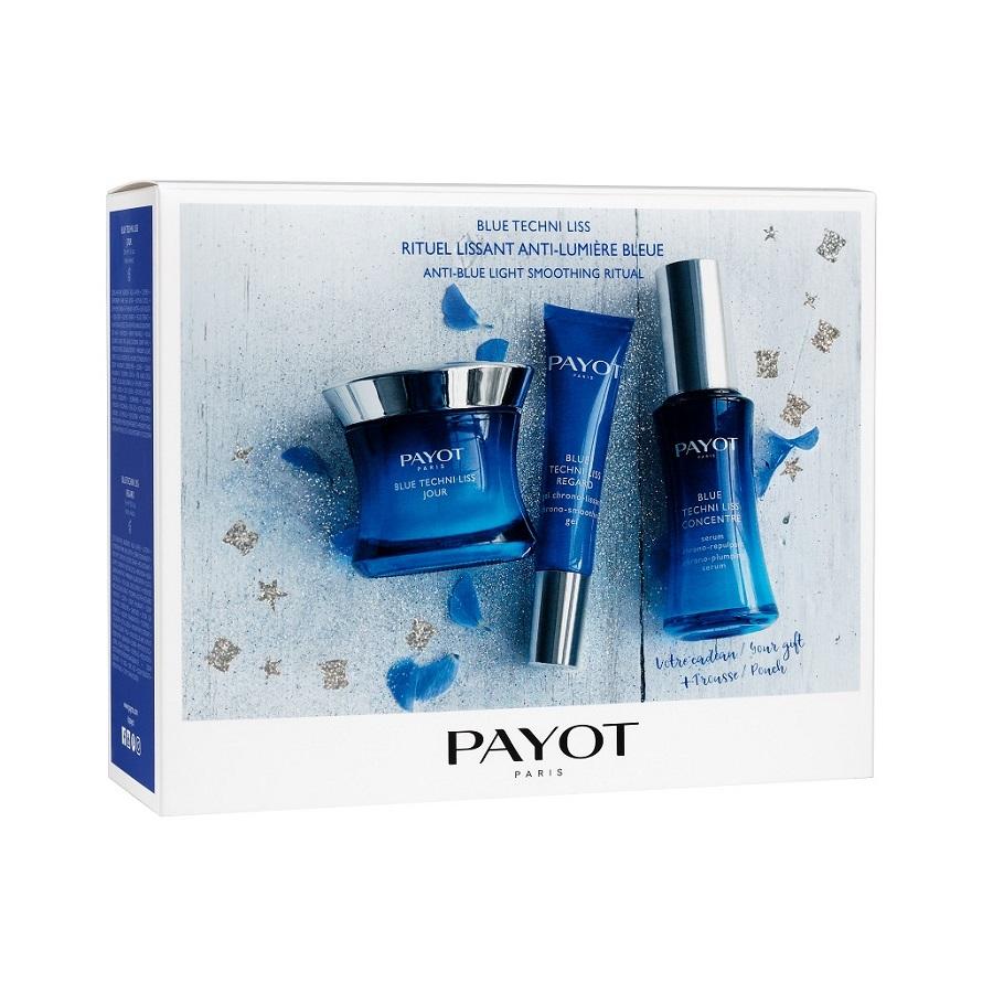 Pachet Blue Techni Liss Cremă crono-catifelantă pentru zi, 50 ml + Ser crono-volumizator concentrat, 30 ml + Gel crono-catifelant pentru ochi, 15 ml, Payot