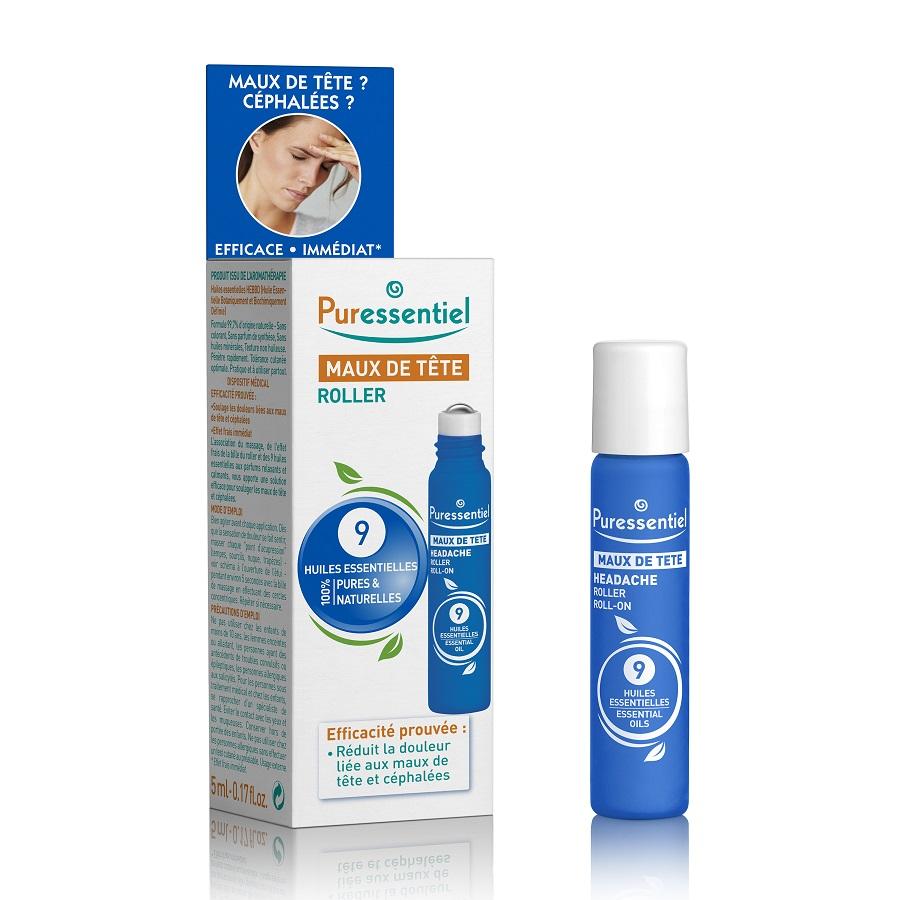 Roll-on pentru dureri de cap cu 9 uleiuri esențiale, 5 ml, Puressentiel