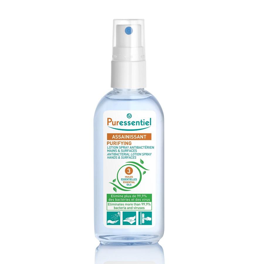 Lotiune spray antebacteriana pentru maini cu 3 uleiuri esentiale, 80 ml, Puressentiel