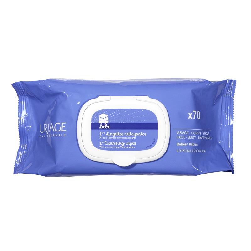 Servetele de curatare cu apa termala 1eres Bebe, 70 bucati, Uriage