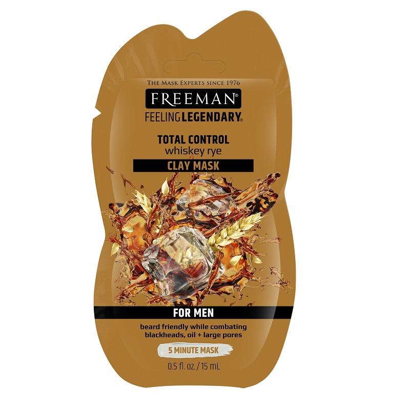 Mască 5 în 1 cu argilă și whiskey de secară For Men, 15 ml, Freeman