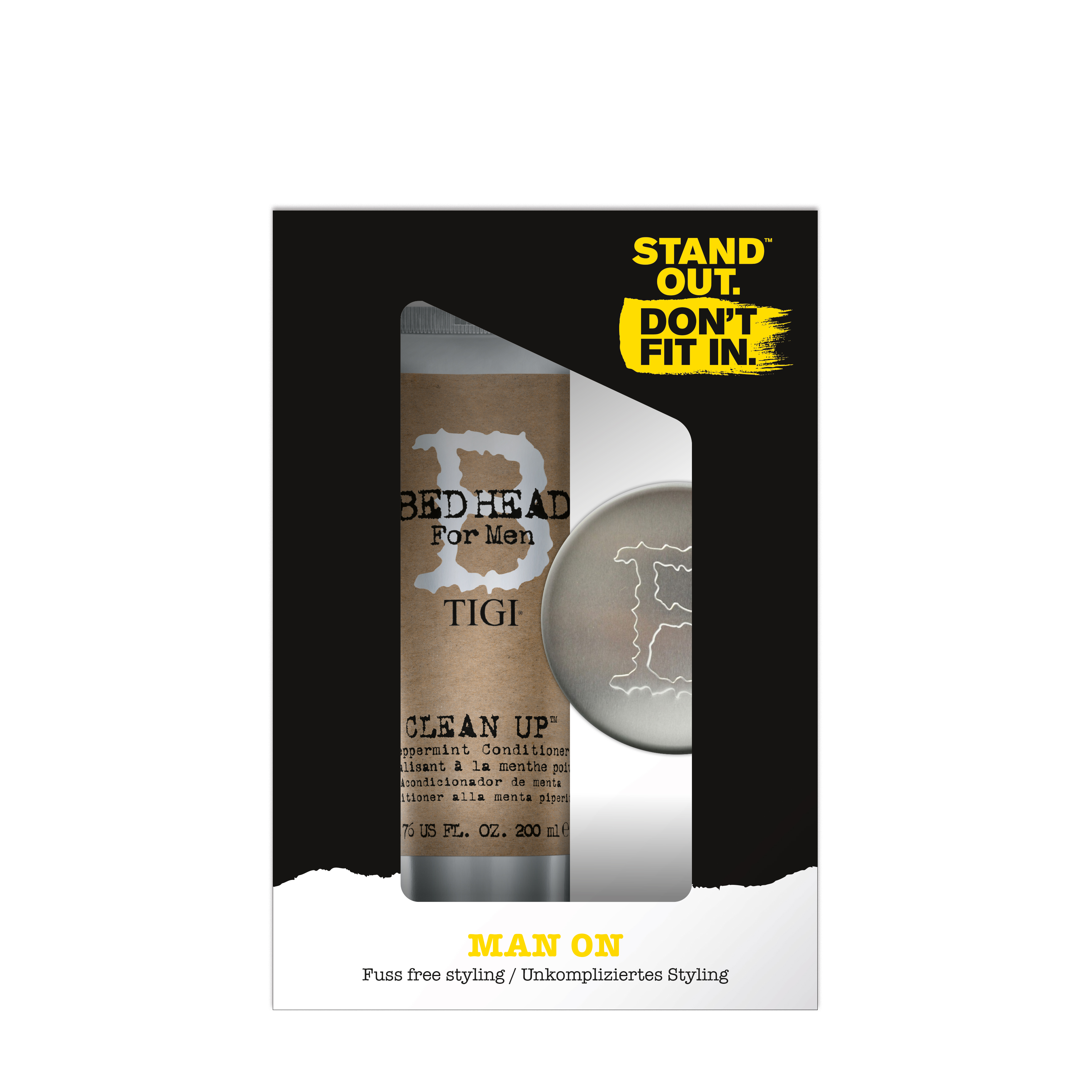 Pachet Tigi Bed Head for Men Șampon Clean Up, 250 ml + Ceară de păr Matte Separation Wax, 85 g, Tigi