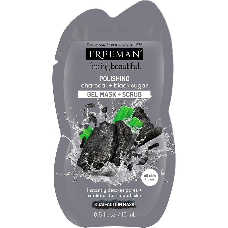 Mască-gel exfoliantă cu cărbune și zahăr negru, 15 ml, Freeman