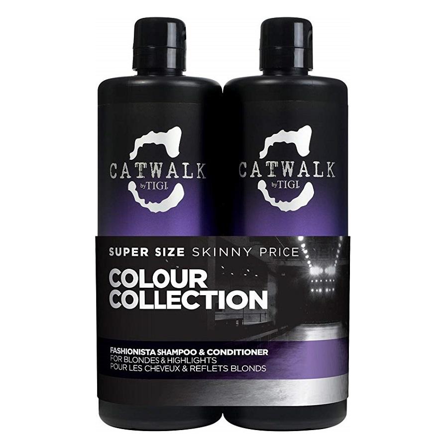 Pachet Color Collection Șampon pentru păr blond Catwalk Fashionista, 750 ml + Balsam pentru păr blond Catwalk Fashionista Violet, 750 ml, Tigi