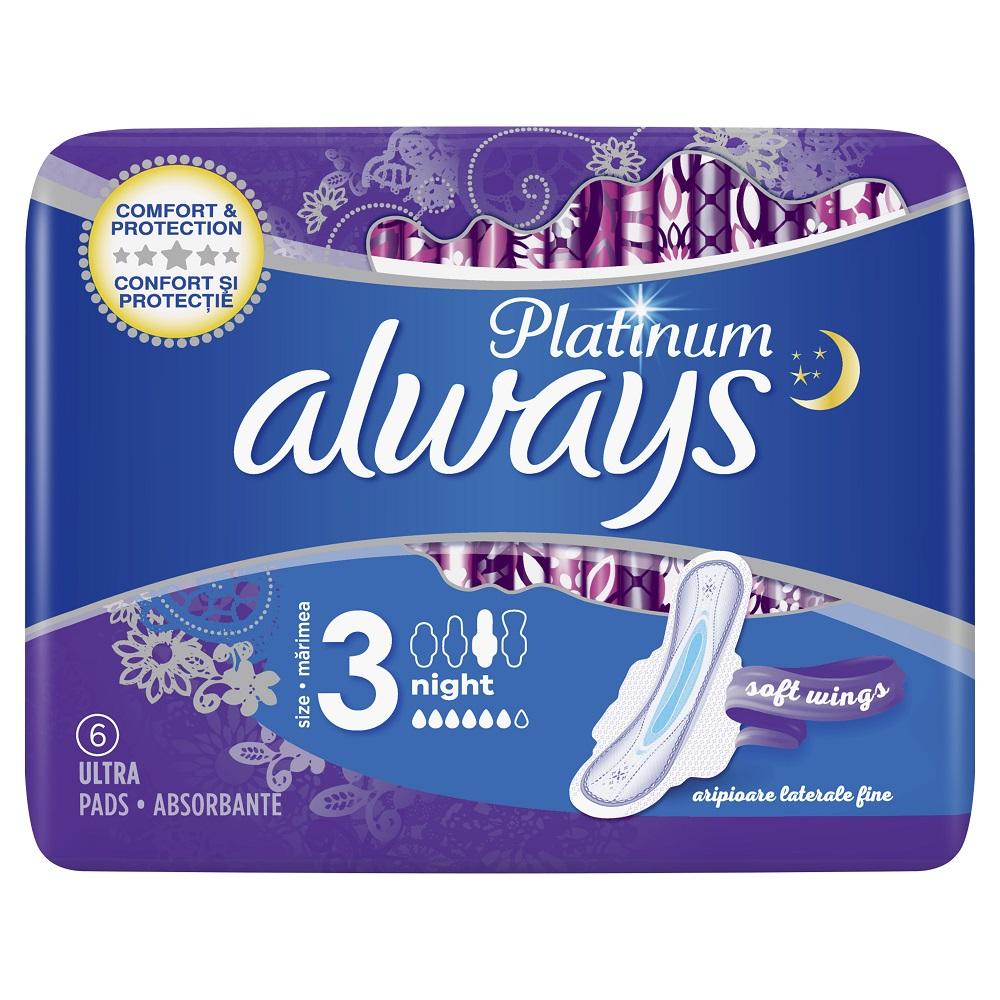 Absorbante Always Platinum Ultra Night, 6 bucati, P&G