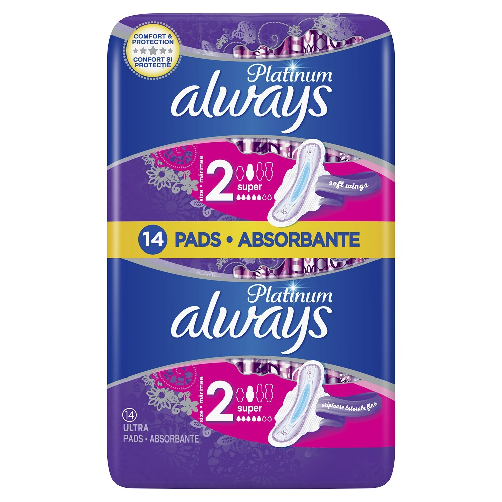 Absorbante Always Platinum Ultra Super, 14 bucati, P&G