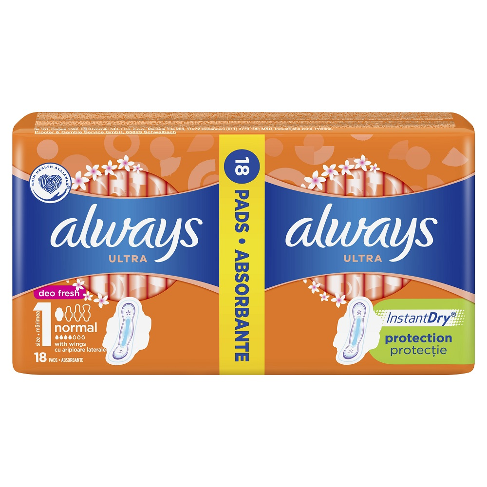 Absorbante Always Ultra Normal Deo Fresh, 18 bucăți, P&G