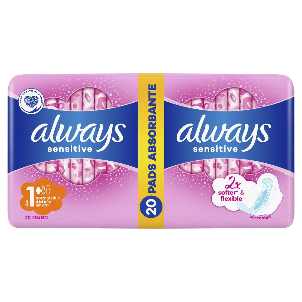 Absorbante Always Ultra Sensitive Normal Plus, 20 bucăți, P&G