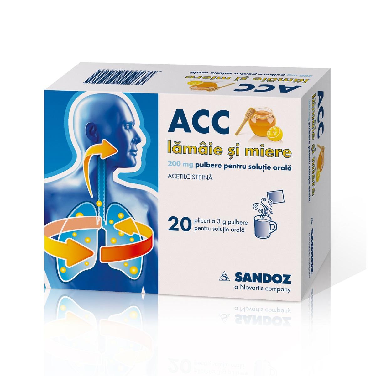ACC lămâie și miere 200 mg, 20 plicuri, Sandoz