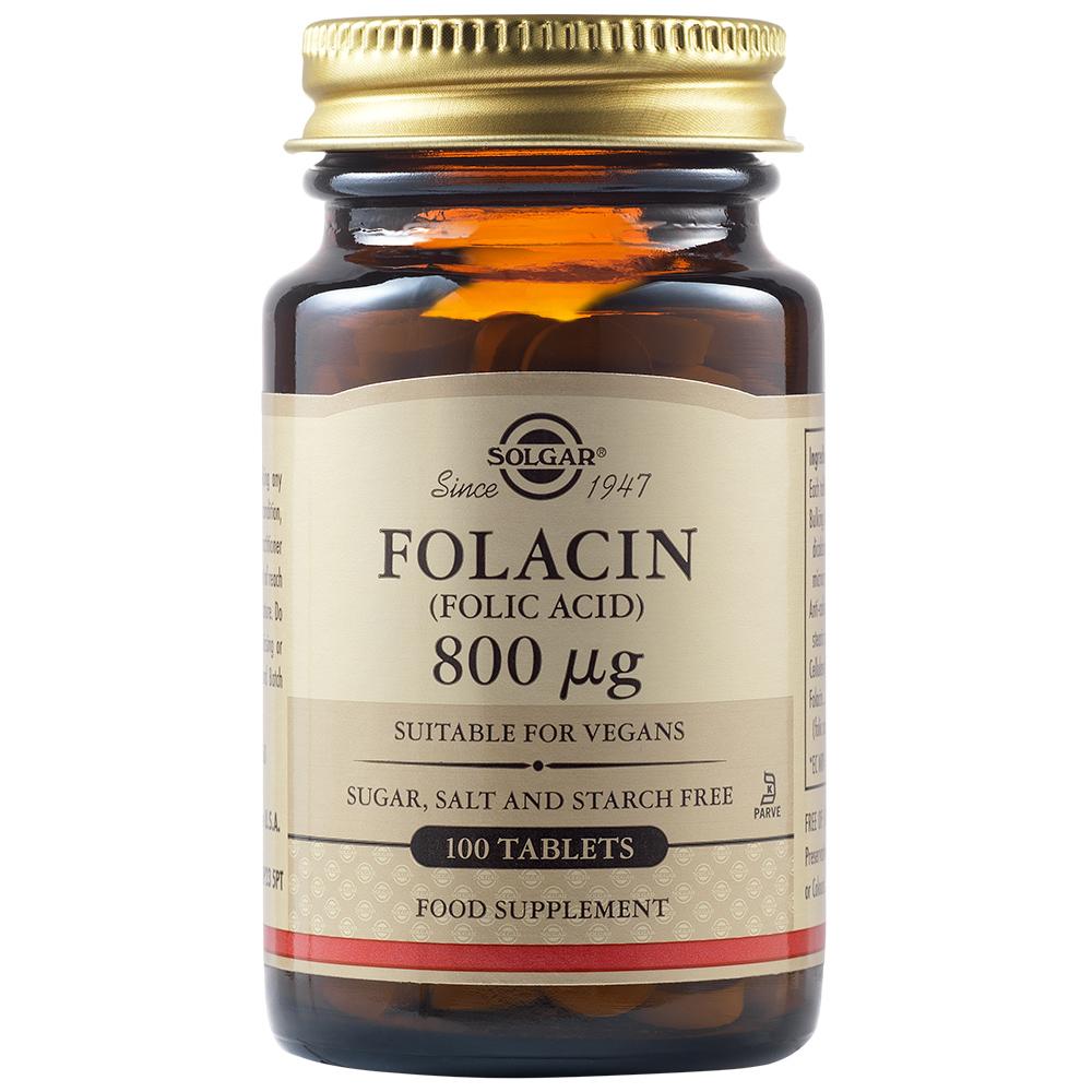 Acid Folic Folacin 800 ug, 100 tablete, Solgar