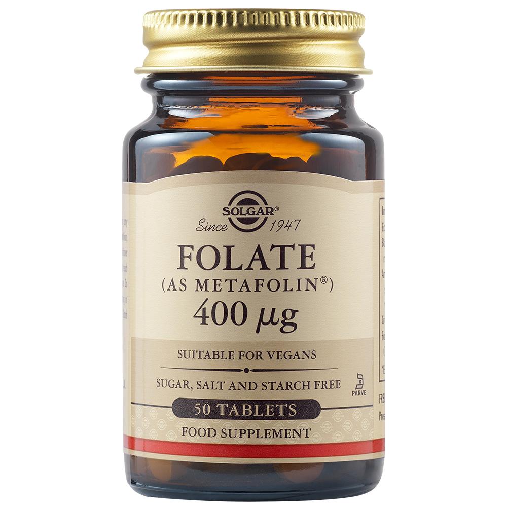Acid folic Folate 400 ug, 50 tablete, Solgar