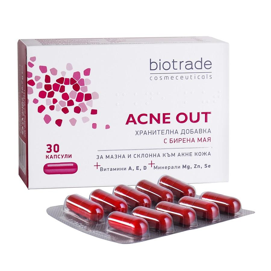 Supliment alimentar pentru ten gras cu tendința acneică Acne Out, 30 capsule, Biotrade