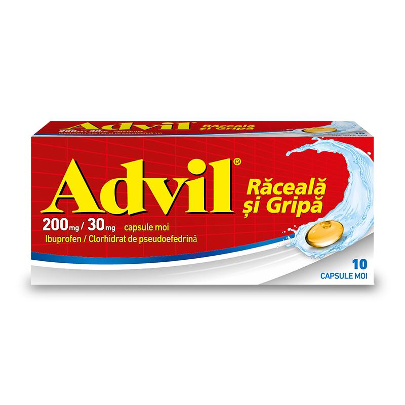 Advil Răceală și Gripă 200 mg/ 30 mg, 10 capsule moi, Pfizer