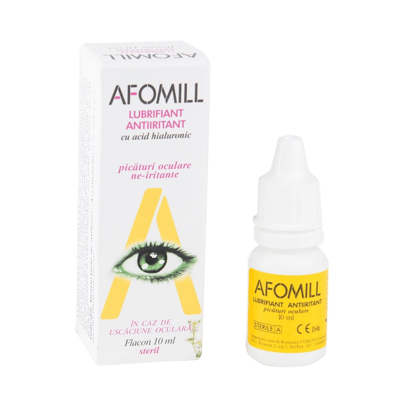 Picături oculare lubrifiante antiiritante cu acid hialuronic Afomill, 10 ml, Af United