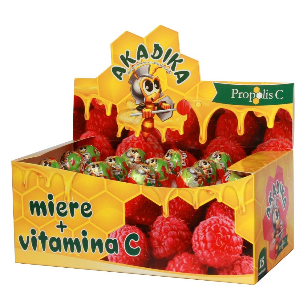 Acadele cu propolis, miere și vitamina C Akadika, 15 bucăți, Fiterman Pharma