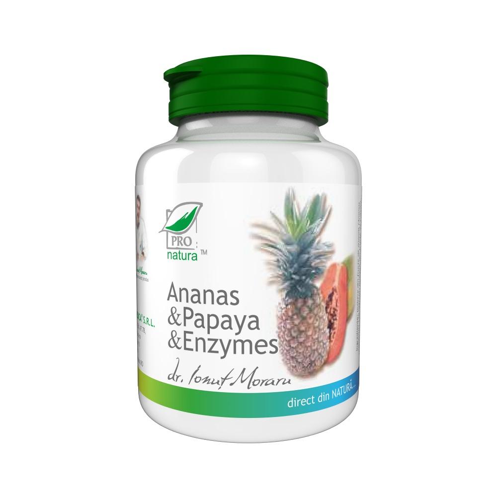 Ananas, Papaya si Enzymes, 100 comprimate, Pro Natura
