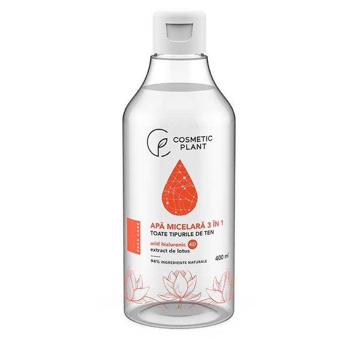Apă micelară 3 în 1 cu acid hiluronic 4D si extract de lotus, 400 ml, Cosmetic Plant