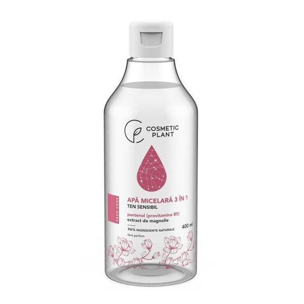 Apă micelară 3 în 1 cu extract de magnolie si pantenol pentru ten sensibil, 400 ml, Cosmetic Plant