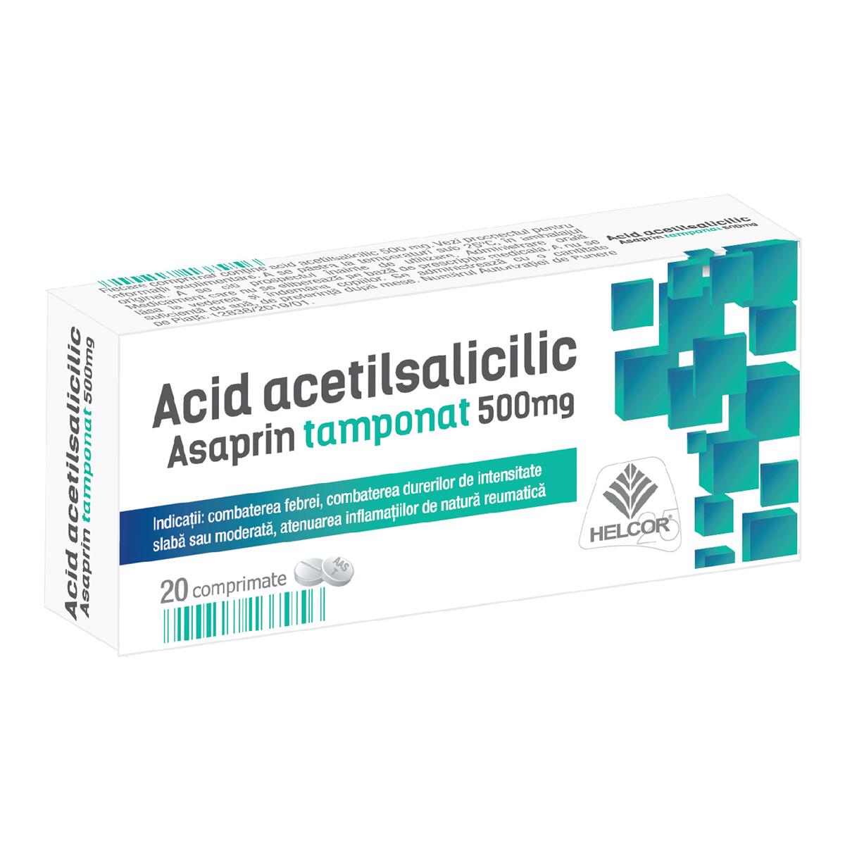 Asaprin tamponat acid acetilsalicilic, 20 comprimate, Helcor