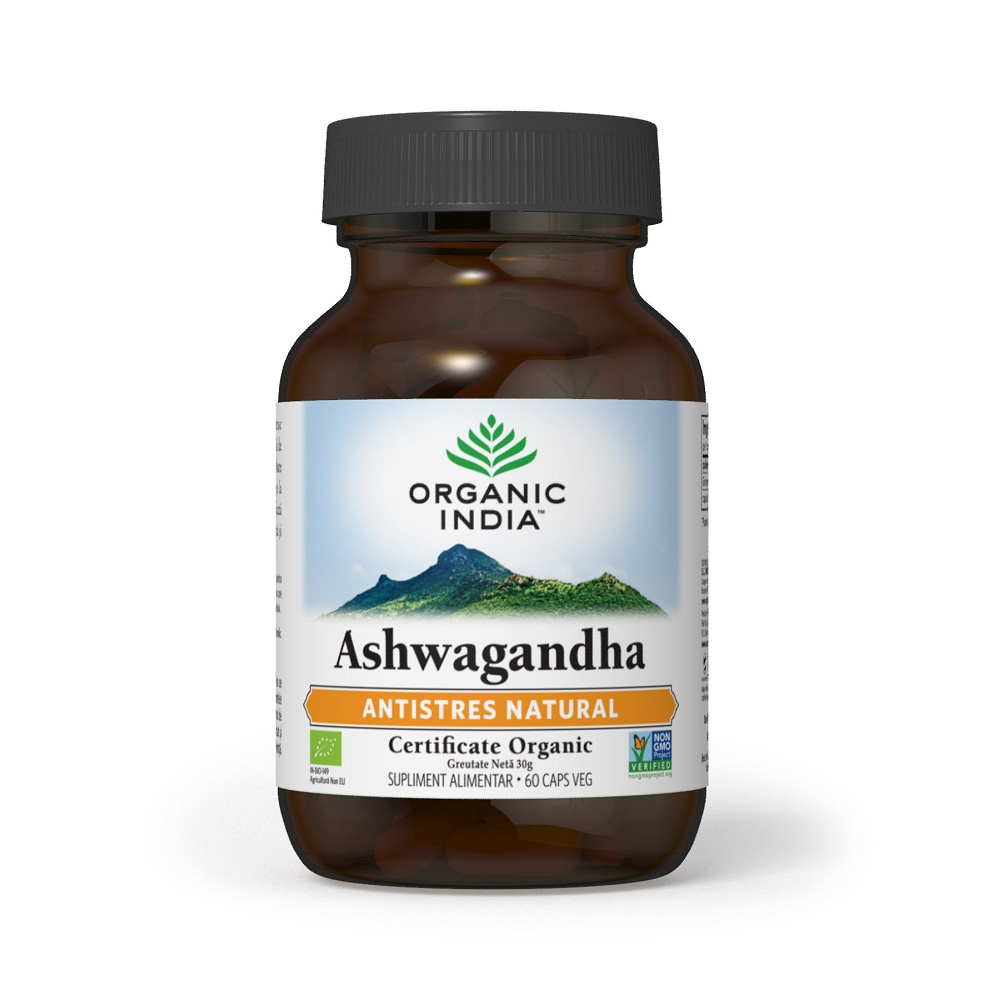 Ashwagandha Antistres Natural, 60 capsule, Organic India