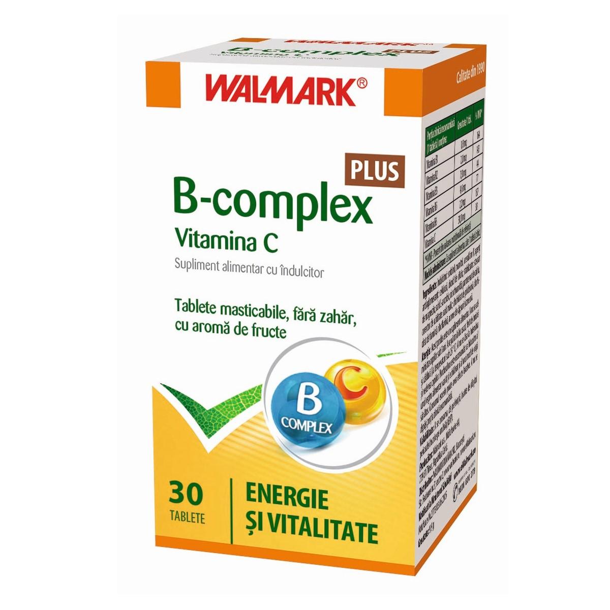 B complex + Vitamina C cu aromă de fructe, 30 tablete, Walmark