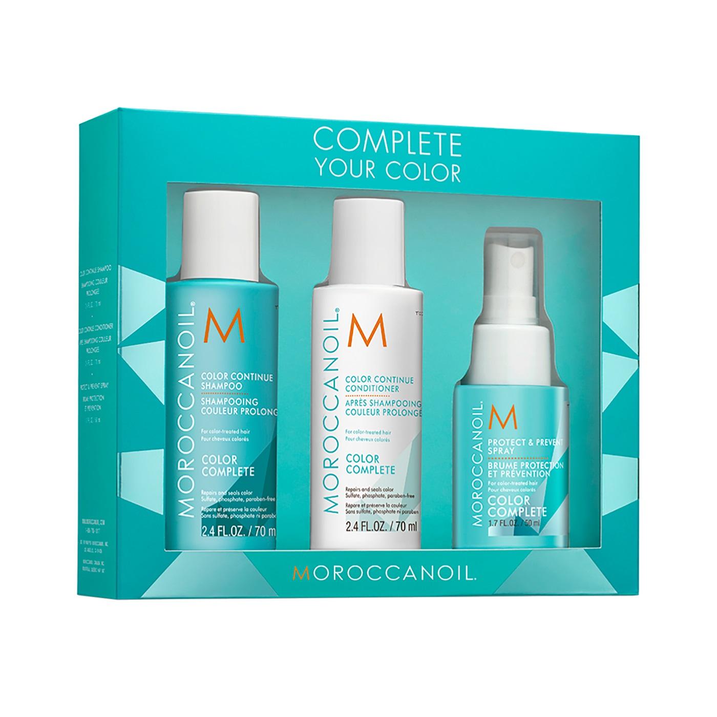 Set pentru păr vopsit Color Complete, Șampon, 70 ml + Balsam, 70 ml + Spray pentru protecție, 50 ml, Moroccanoil