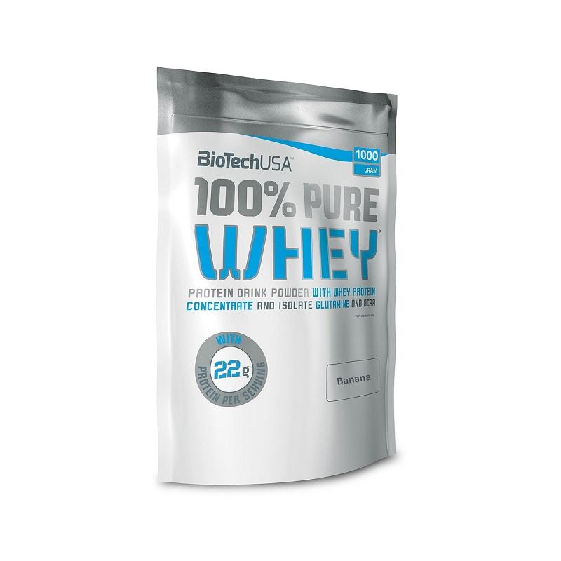 Pudra proteică 100% Pure Whey Banana, 454 g, BioTech USA