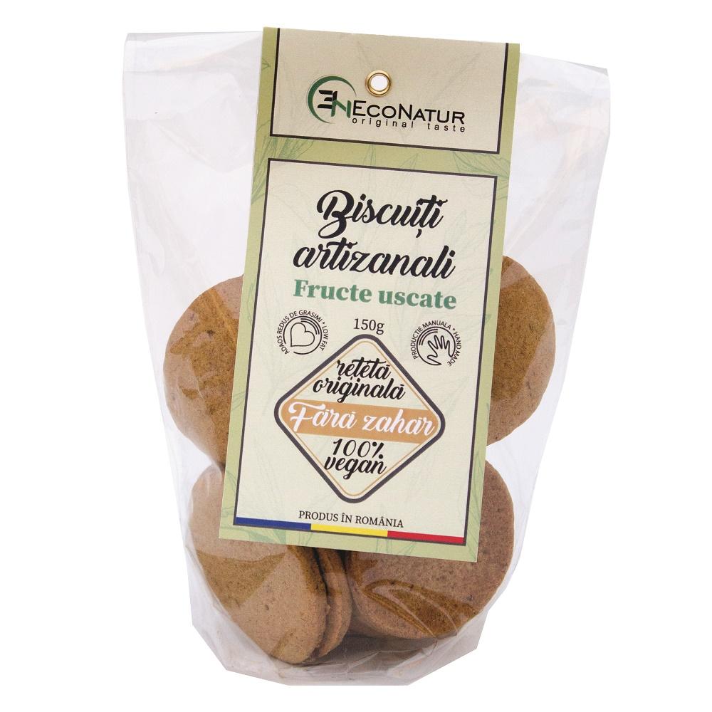 Biscuiti artizanali, vegani fara zahar cu fructe uscate, 150g, Econatur