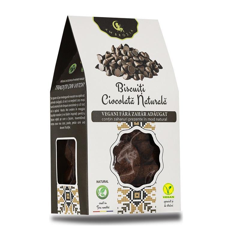 Biscuiți cu ciocolată naturală, 150 g, Hiper Ambrozia
