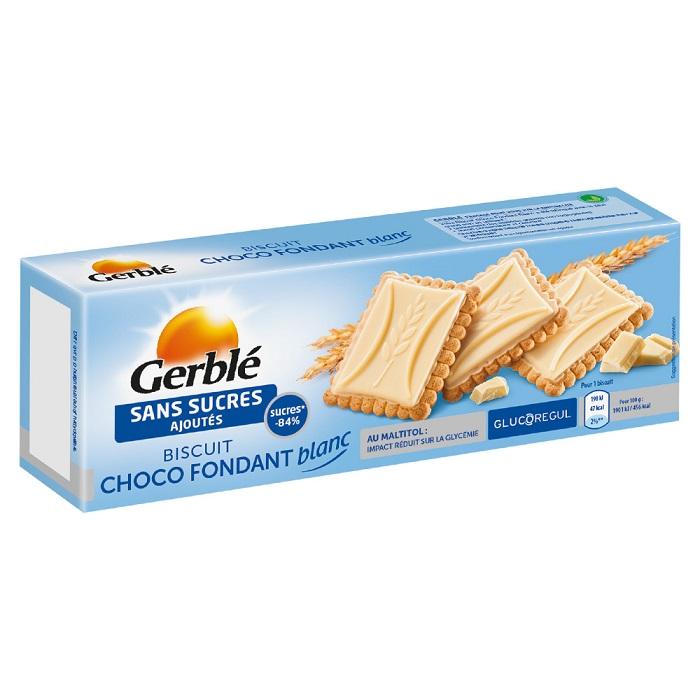 Biscuiti cu tableta de ciocolata alba fara zahar adaugat, 126 g, Gerble