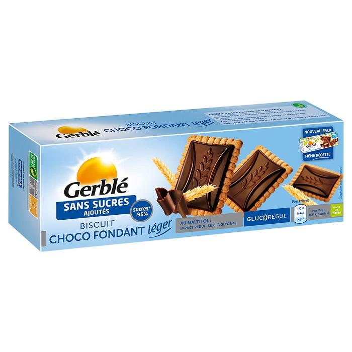 Biscuiti cu tableta de ciocolata neagra fara zahar adaugat, 126 g, Gerble