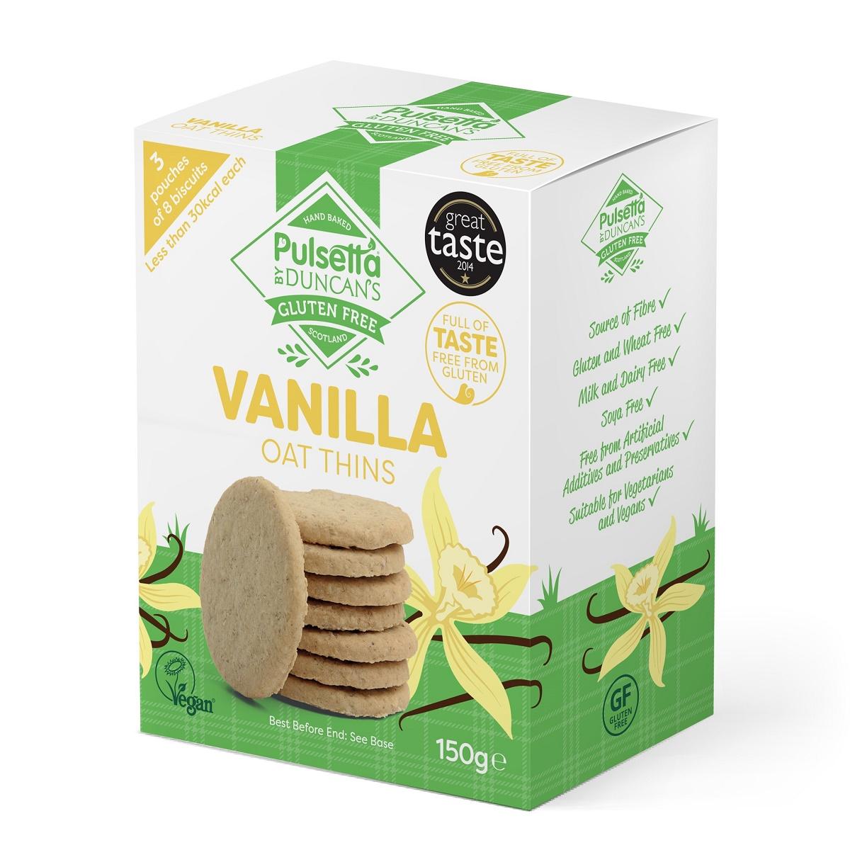 Biscuiți vegani fără gluten din ovăz cu vanilie Pulsetta, 150 g, Activ Pharma Star