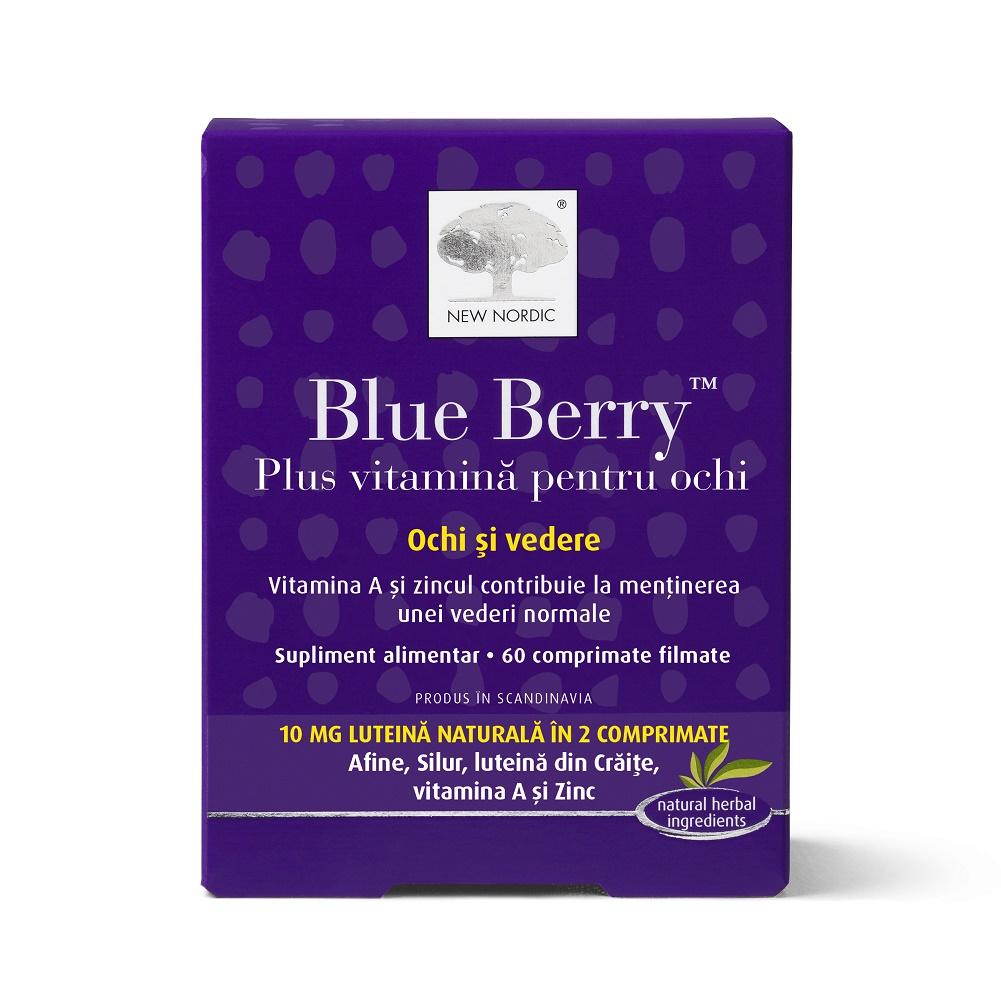 Blue Berry plus vitamină pentru ochi, 60 comprimate filmate, New Nordic