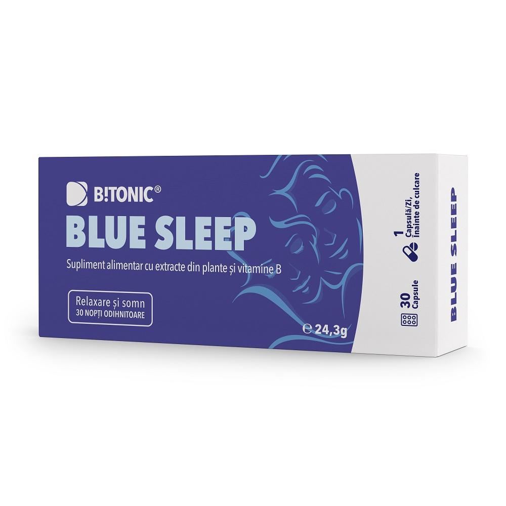 Blue Sleep, complex ingrediente naturale pentru tulburari de somn Bitonic, 30 capsule, Lifecare