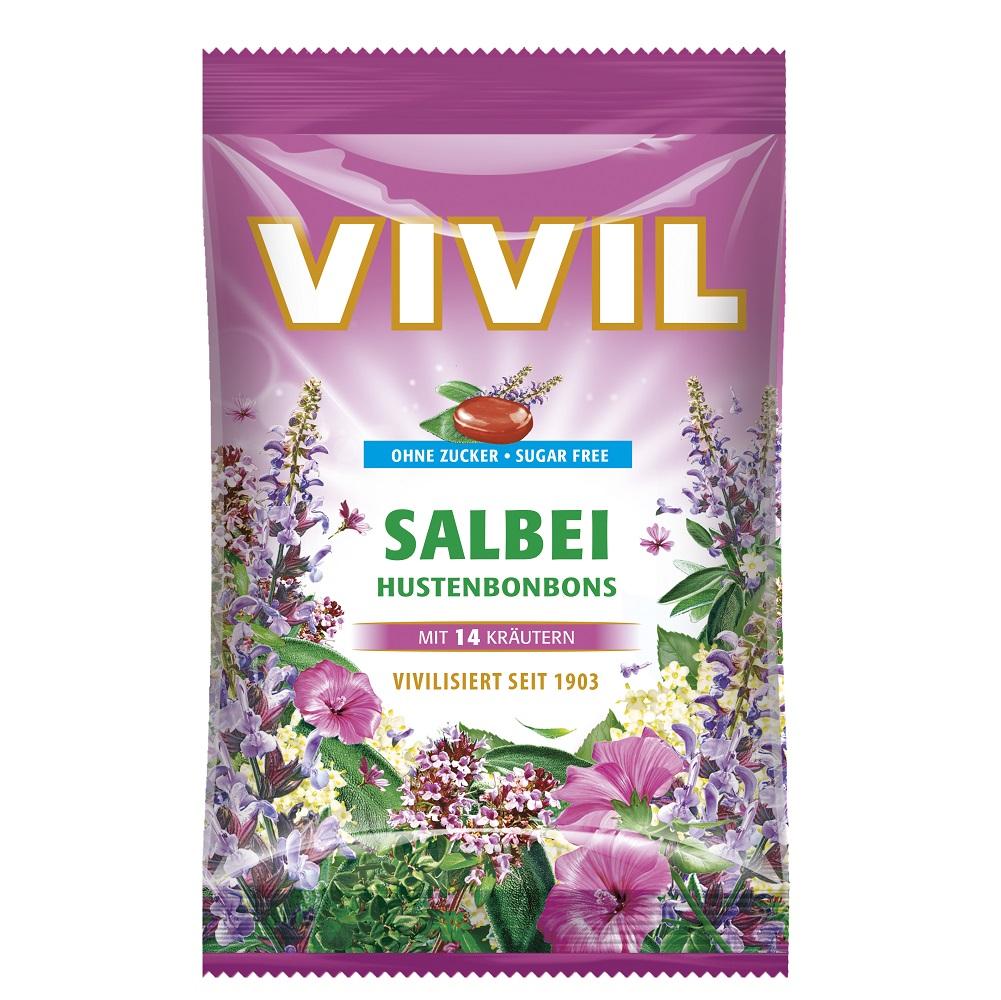 Bomboane Salvie cu vitamina C fara zahar, 80g, Vivil