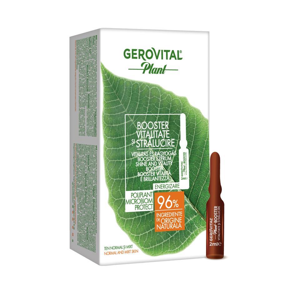 Booster vitalitate si stralucire Poliplant Microbiom Protect Gerovital Plant, 10 fiole x 2 ml, Farmec