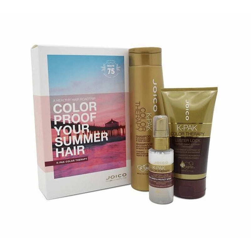 Pachet K-pak Summer Color Therapy Șampon 300 ml + Tratament 140 ml + Spray de par 20 ml, Joico