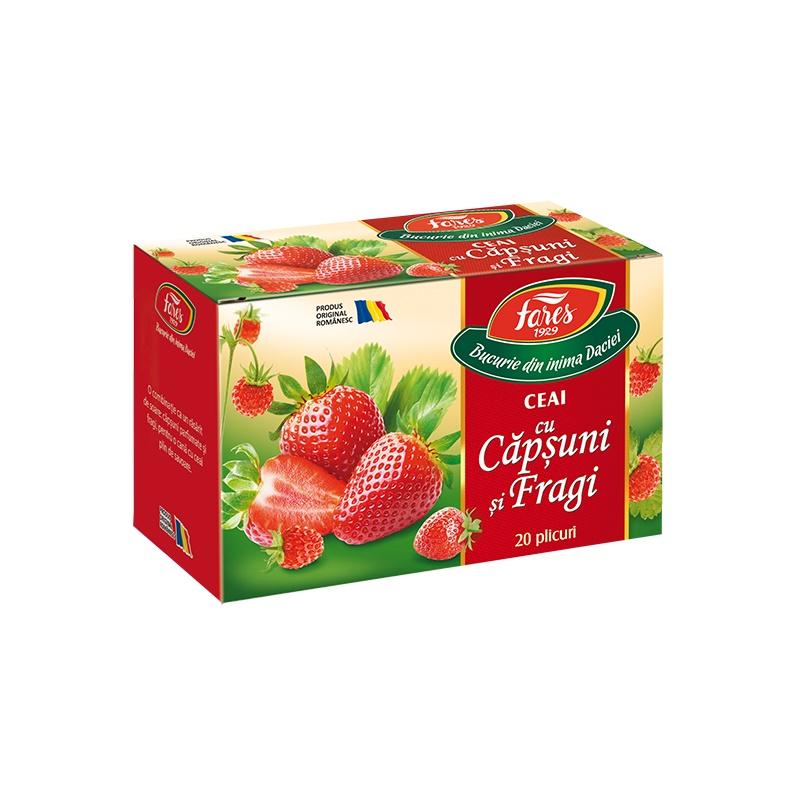 Ceai de Căpșuni și Fragi Aromfruct, 20 plicuri, Fares
