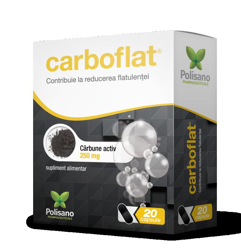 Cărbune activ Carboflat 250 mg, 20 capsule, Polisano