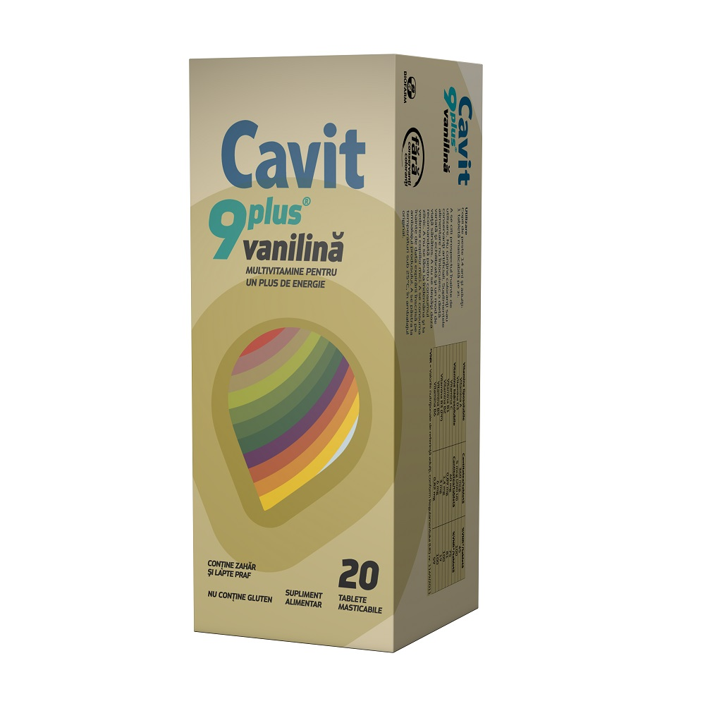 Cavit 9 plus vanilie, 20 tablete, Biofarm